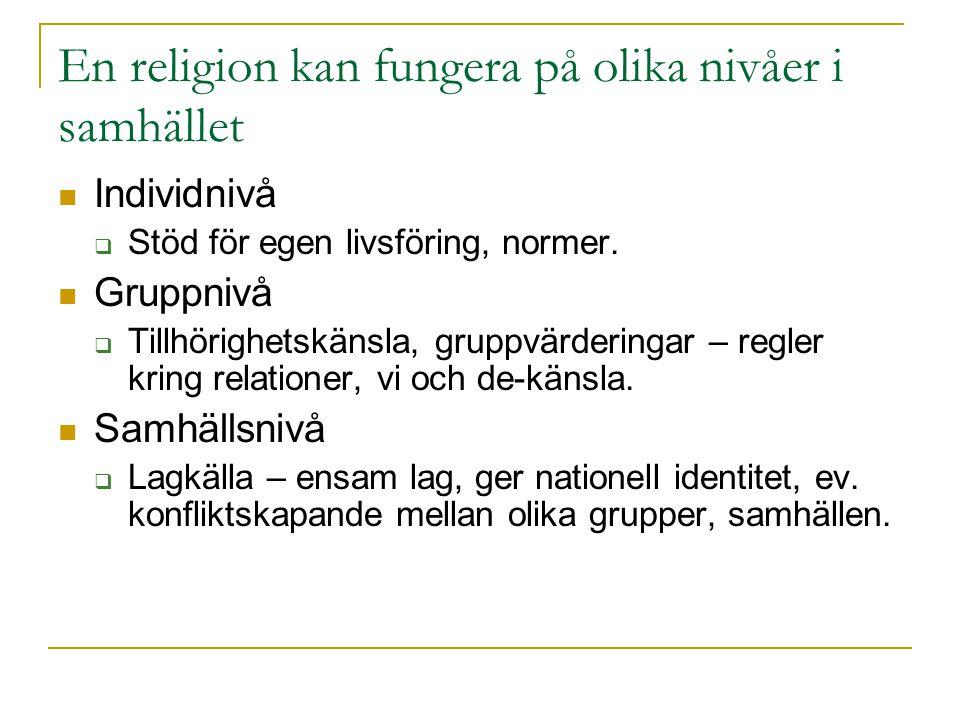 En religion kan fungera på olika nivåer i samhället Individnivå  Stöd för egen livsföring, normer.
