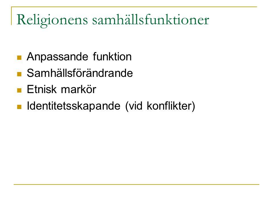 Religionens samhällsfunktioner Anpassande funktion Samhällsförändrande Etnisk markör Identitetsskapande (vid konflikter)
