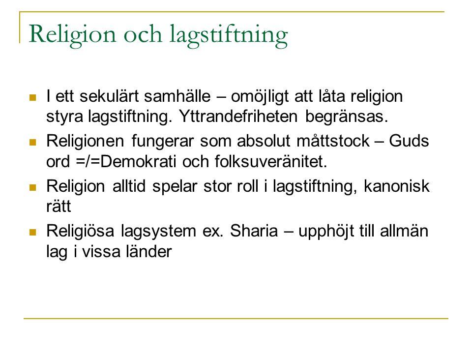 Religion och lagstiftning I ett sekulärt samhälle – omöjligt att låta religion styra lagstiftning.