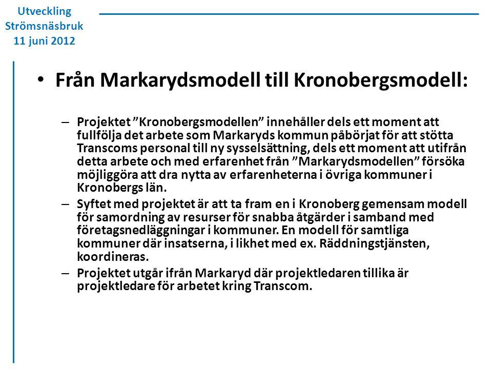Från Markarydsmodell till Kronobergsmodell: – Projektet Kronobergsmodellen innehåller dels ett moment att fullfölja det arbete som Markaryds kommun påbörjat för att stötta Transcoms personal till ny sysselsättning, dels ett moment att utifrån detta arbete och med erfarenhet från Markarydsmodellen försöka möjliggöra att dra nytta av erfarenheterna i övriga kommuner i Kronobergs län.