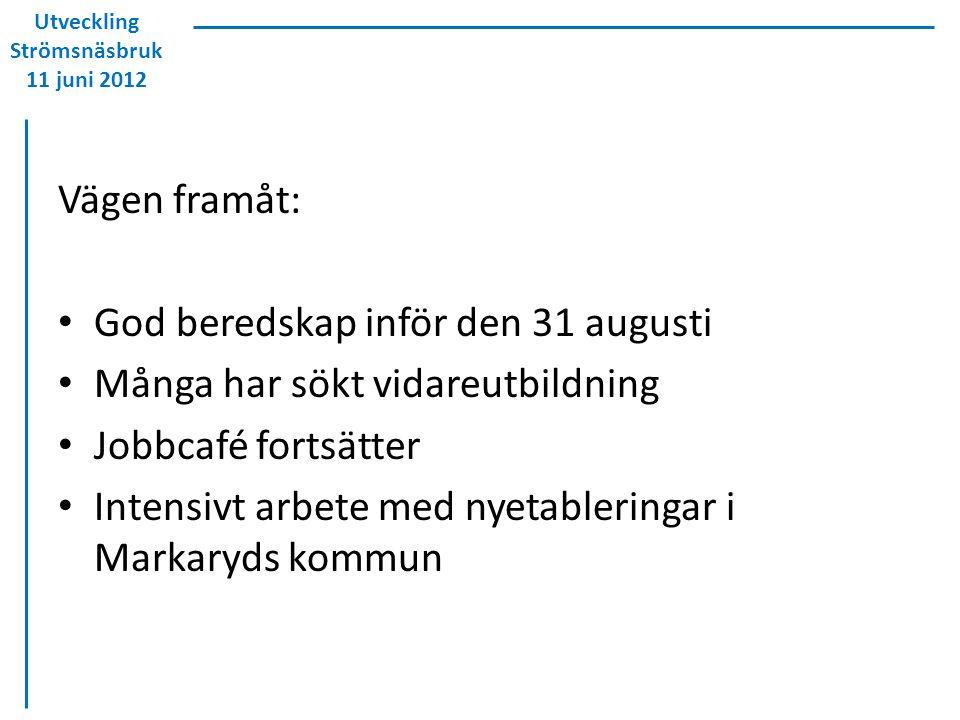 Utveckling Strömsnäsbruk 11 juni 2012 Vägen framåt: God beredskap inför den 31 augusti Många har sökt vidareutbildning Jobbcafé fortsätter Intensivt a