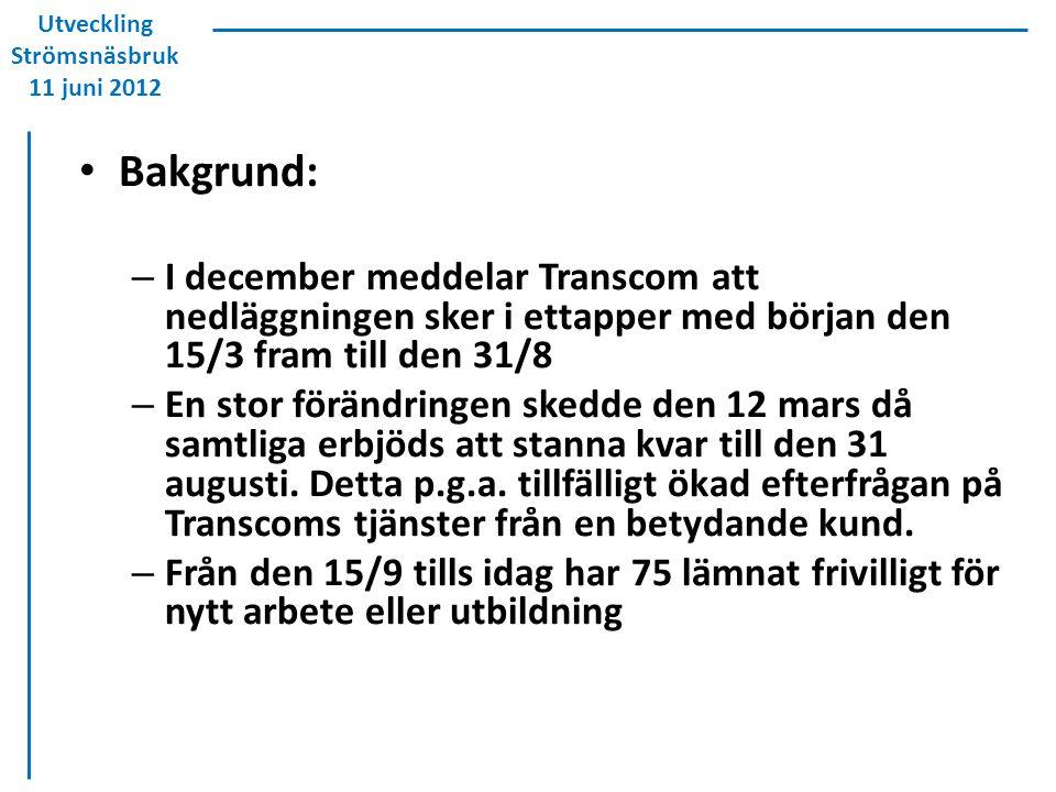 Bakgrund: – I december meddelar Transcom att nedläggningen sker i ettapper med början den 15/3 fram till den 31/8 – En stor förändringen skedde den 12 mars då samtliga erbjöds att stanna kvar till den 31 augusti.