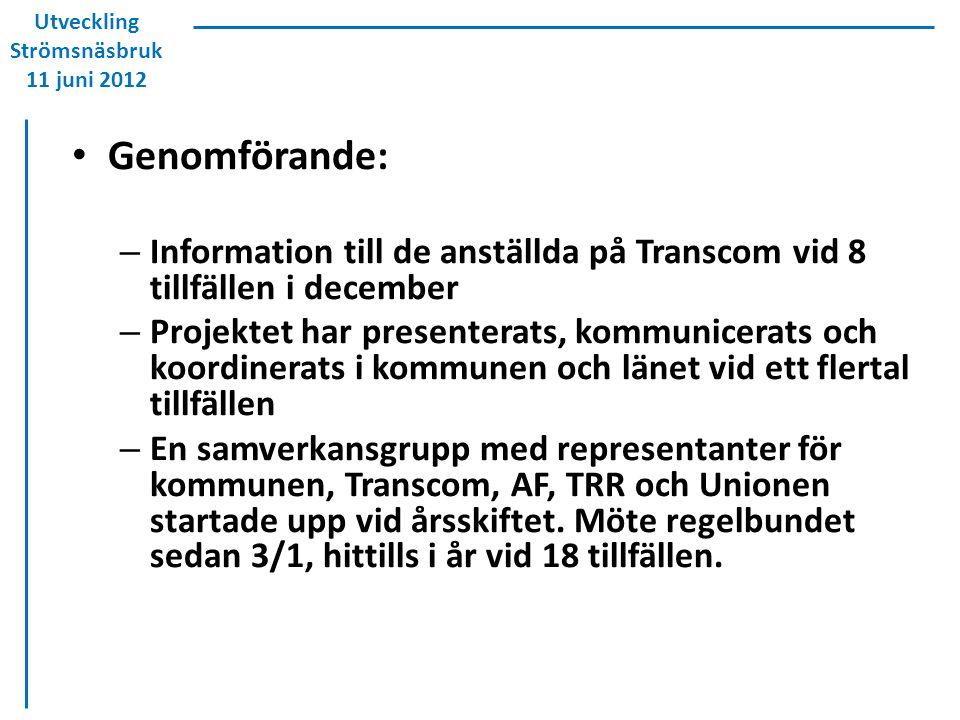 Genomförande: – Information till de anställda på Transcom vid 8 tillfällen i december – Projektet har presenterats, kommunicerats och koordinerats i k