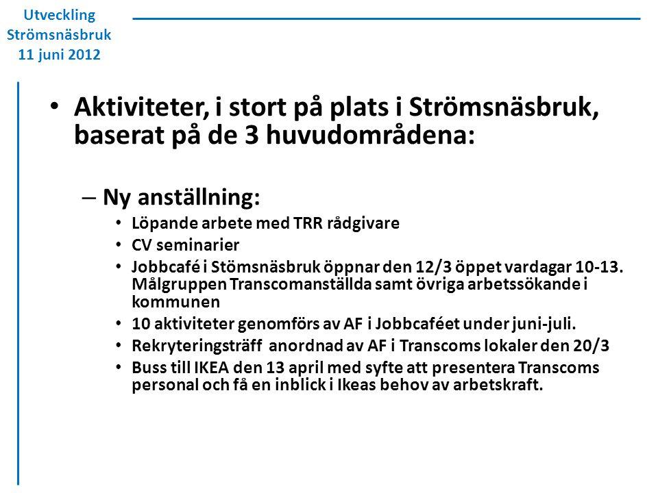 Aktiviteter, i stort på plats i Strömsnäsbruk, baserat på de 3 huvudområdena: – Ny anställning: Löpande arbete med TRR rådgivare CV seminarier Jobbcaf