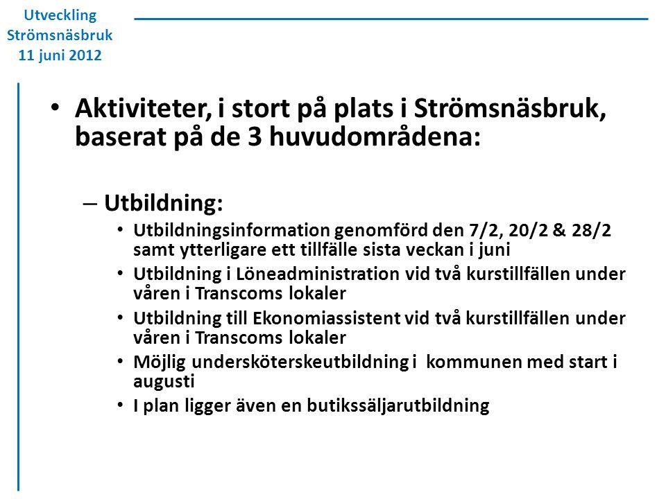 Aktiviteter, i stort på plats i Strömsnäsbruk, baserat på de 3 huvudområdena: – Utbildning: Utbildningsinformation genomförd den 7/2, 20/2 & 28/2 samt