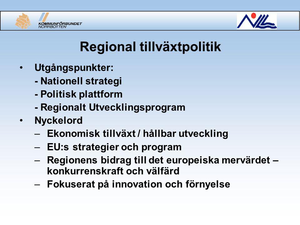 Regional tillväxtpolitik Utgångspunkter: - Nationell strategi - Politisk plattform - Regionalt Utvecklingsprogram Nyckelord –Ekonomisk tillväxt / hållbar utveckling –EU:s strategier och program –Regionens bidrag till det europeiska mervärdet – konkurrenskraft och välfärd –Fokuserat på innovation och förnyelse