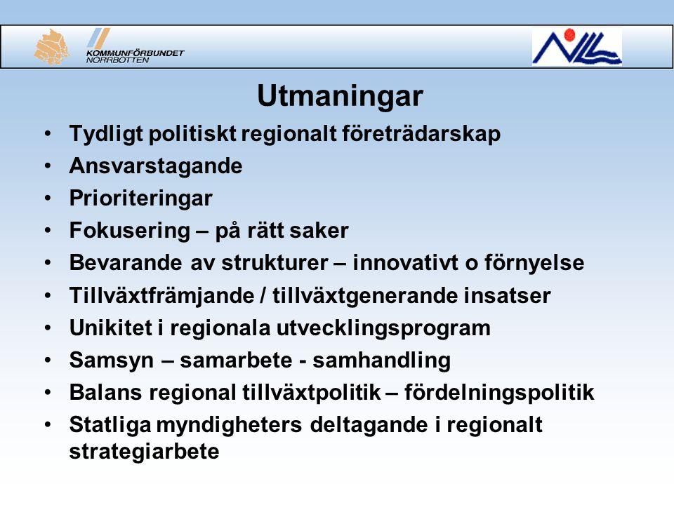 Utmaningar Tydligt politiskt regionalt företrädarskap Ansvarstagande Prioriteringar Fokusering – på rätt saker Bevarande av strukturer – innovativt o förnyelse Tillväxtfrämjande / tillväxtgenerande insatser Unikitet i regionala utvecklingsprogram Samsyn – samarbete - samhandling Balans regional tillväxtpolitik – fördelningspolitik Statliga myndigheters deltagande i regionalt strategiarbete