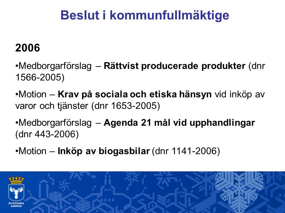 Beslut i kommunfullmäktige 2006 Medborgarförslag – Rättvist producerade produkter (dnr 1566-2005) Motion – Krav på sociala och etiska hänsyn vid inköp