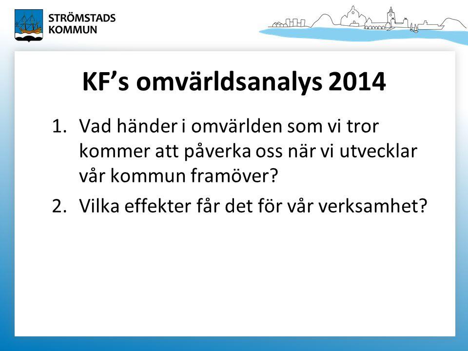 KF's omvärldsanalys 2014 1.Vad händer i omvärlden som vi tror kommer att påverka oss när vi utvecklar vår kommun framöver.