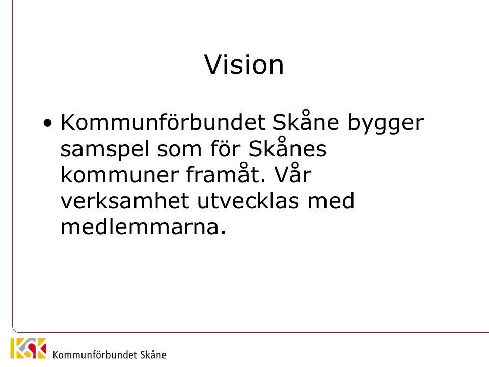 Vision Kommunförbundet Skåne bygger samspel som för Skånes kommuner framåt. Vår verksamhet utvecklas med medlemmarna.