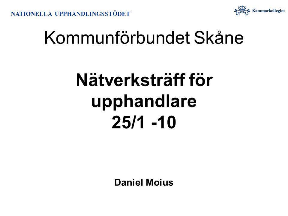 NATIONELLA UPPHANDLINGSSTÖDET Kommunförbundet Skåne Nätverksträff för upphandlare 25/1 -10 Daniel Moius