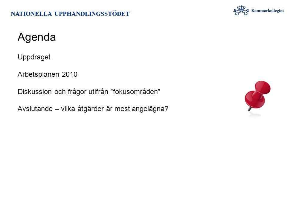 """NATIONELLA UPPHANDLINGSSTÖDET Agenda NATIONELLA UPPHANDLINGSSTÖDET Uppdraget Arbetsplanen 2010 Diskussion och frågor utifrån """"fokusområden"""" Avslutande"""