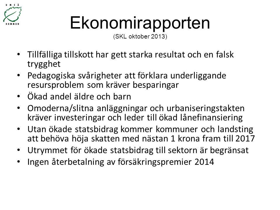 Ekonomirapporten (SKL oktober 2013) Tillfälliga tillskott har gett starka resultat och en falsk trygghet Pedagogiska svårigheter att förklara underlig