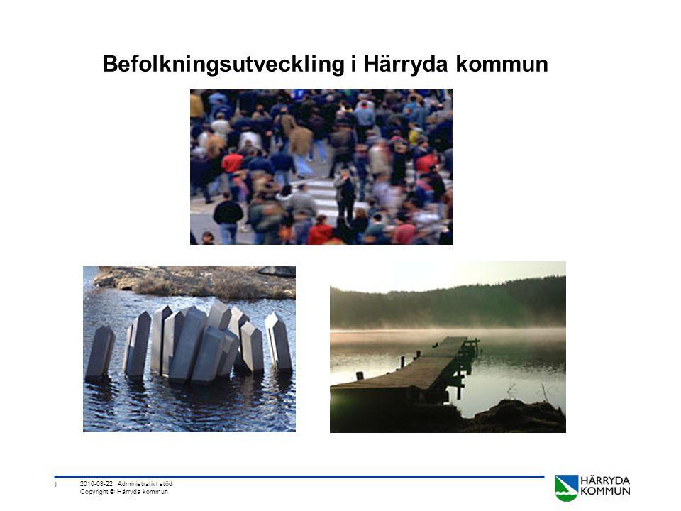2 2010-03-22 Administrativt stöd Copyright © Härryda kommun Frågeställningar Finns det några tydliga flyttströmmar och har de någon betydelse.