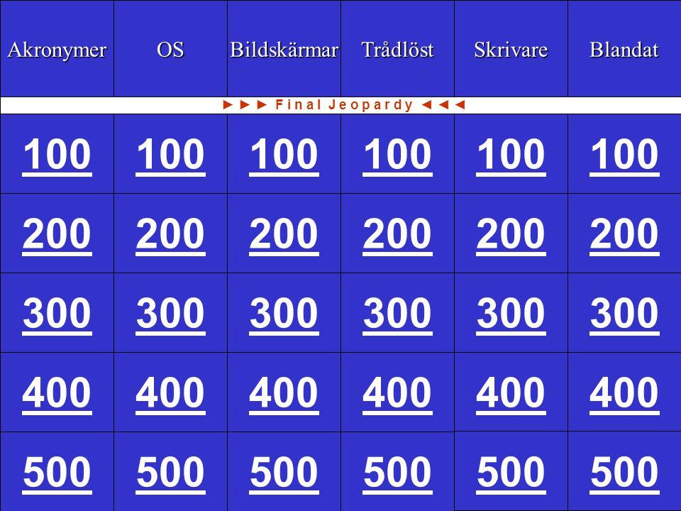 100 Akronymer OS Bildskärmar Trådlöst Skrivare Blandat 100 200 300 400 500 200 300 400 500 100 200 300 400 500 200 300 400 500 ► ► ► F i n a l J e o p a r d y ◄ ◄ ◄