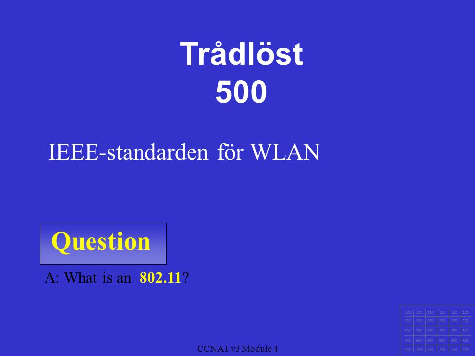 Question 100 200 300 400 500 CCNA1 v3 Module 4 A: What is 4G.