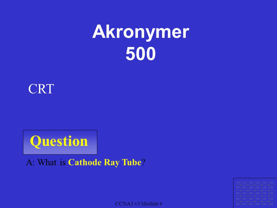 Question 100 200 300 400 500 A: What is Cyan Magenta Yellow blacK? CMYK CCNA1 v3 Module 4 Akronymer 400