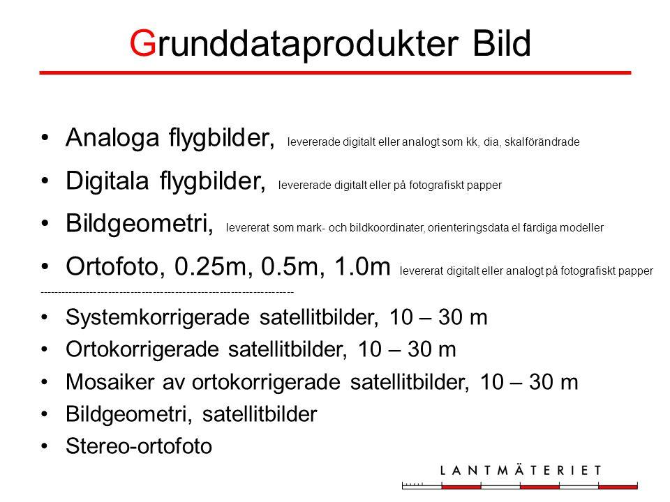Grunddataprodukter Bild Analoga flygbilder, levererade digitalt eller analogt som kk, dia, skalförändrade Digitala flygbilder, levererade digitalt eller på fotografiskt papper Bildgeometri, levererat som mark- och bildkoordinater, orienteringsdata el färdiga modeller Ortofoto, 0.25m, 0.5m, 1.0m levererat digitalt eller analogt på fotografiskt papper --------------------------------------------------------------------- Systemkorrigerade satellitbilder, 10 – 30 m Ortokorrigerade satellitbilder, 10 – 30 m Mosaiker av ortokorrigerade satellitbilder, 10 – 30 m Bildgeometri, satellitbilder Stereo-ortofoto