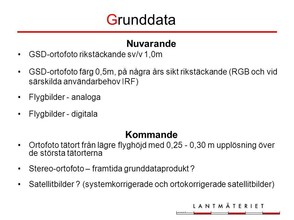 Grunddata Nuvarande GSD-ortofoto rikstäckande sv/v 1,0m GSD-ortofoto färg 0,5m, på några års sikt rikstäckande (RGB och vid särskilda användarbehov IRF) Flygbilder - analoga Flygbilder - digitala Kommande Ortofoto tätort från lägre flyghöjd med 0,25 - 0,30 m upplösning över de största tätorterna Stereo-ortofoto – framtida grunddataprodukt .