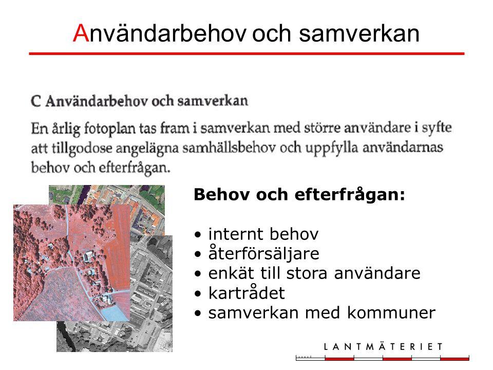 Användarbehov och samverkan Behov och efterfrågan: internt behov återförsäljare enkät till stora användare kartrådet samverkan med kommuner