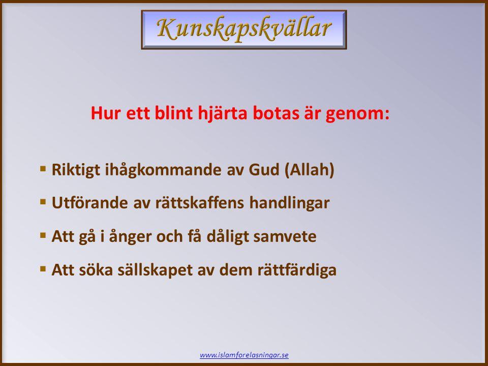 www.islamforelasningar.se Hur ett blint hjärta botas är genom:  Riktigt ihågkommande av Gud (Allah)  Utförande av rättskaffens handlingar  Att gå i ånger och få dåligt samvete  Att söka sällskapet av dem rättfärdiga