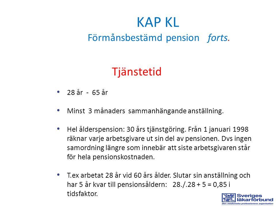 KAP KL Förmånsbestämd pension forts. Tjänstetid 28 år - 65 år Minst 3 månaders sammanhängande anställning. Hel ålderspension: 30 års tjänstgöring. Frå