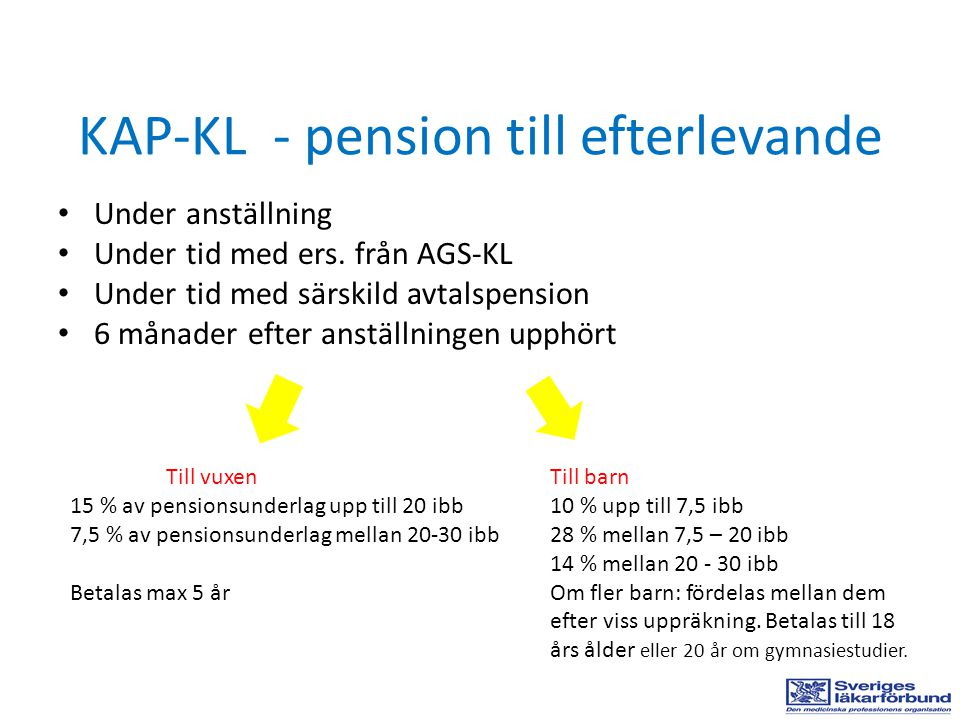KAP-KL - pension till efterlevande Under anställning Under tid med ers. från AGS-KL Under tid med särskild avtalspension 6 månader efter anställningen