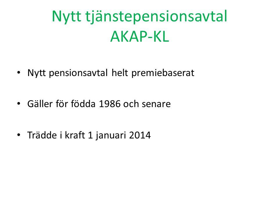 Nytt tjänstepensionsavtal AKAP-KL Nytt pensionsavtal helt premiebaserat Gäller för födda 1986 och senare Trädde i kraft 1 januari 2014