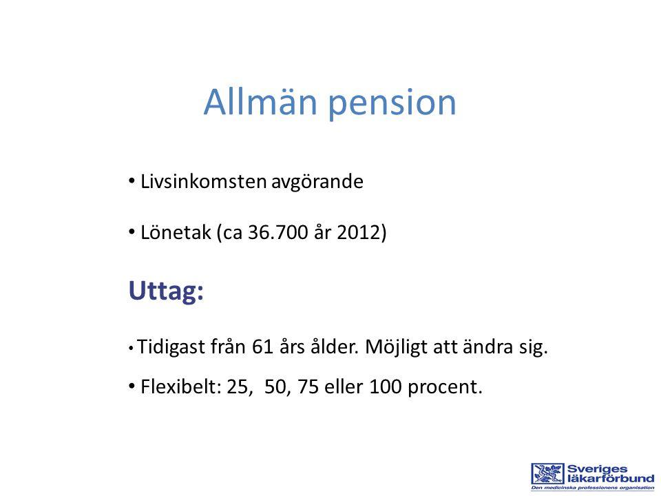 Livsinkomsten avgörande Lönetak (ca 36.700 år 2012) Uttag: Tidigast från 61 års ålder. Möjligt att ändra sig. Flexibelt: 25, 50, 75 eller 100 procent.