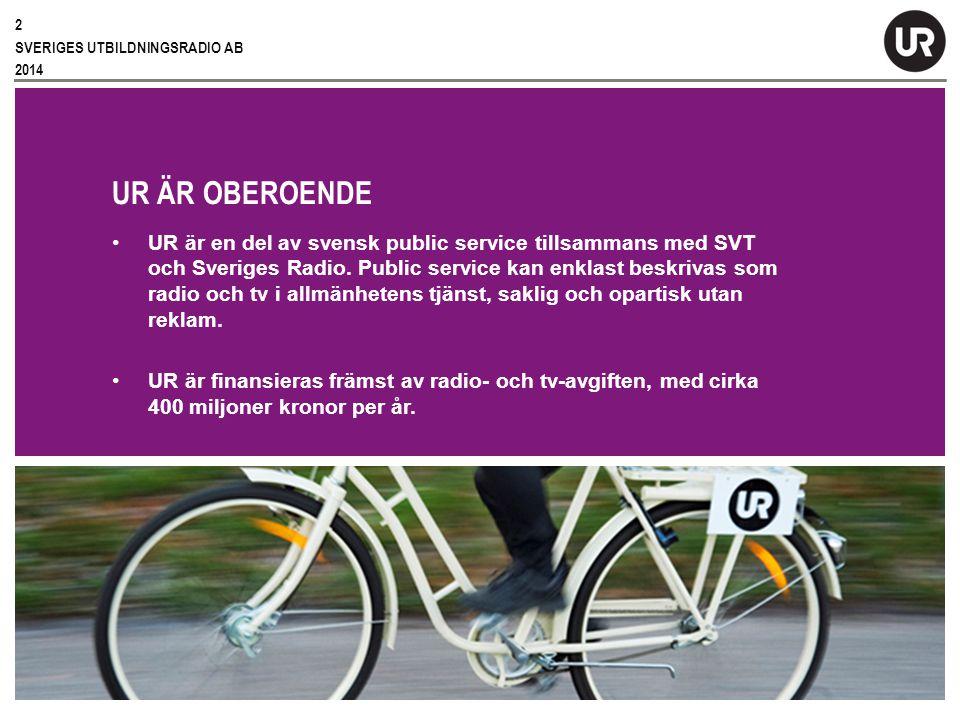 Sv UR ÄR OBEROENDE UR är en del av svensk public service tillsammans med SVT och Sveriges Radio.