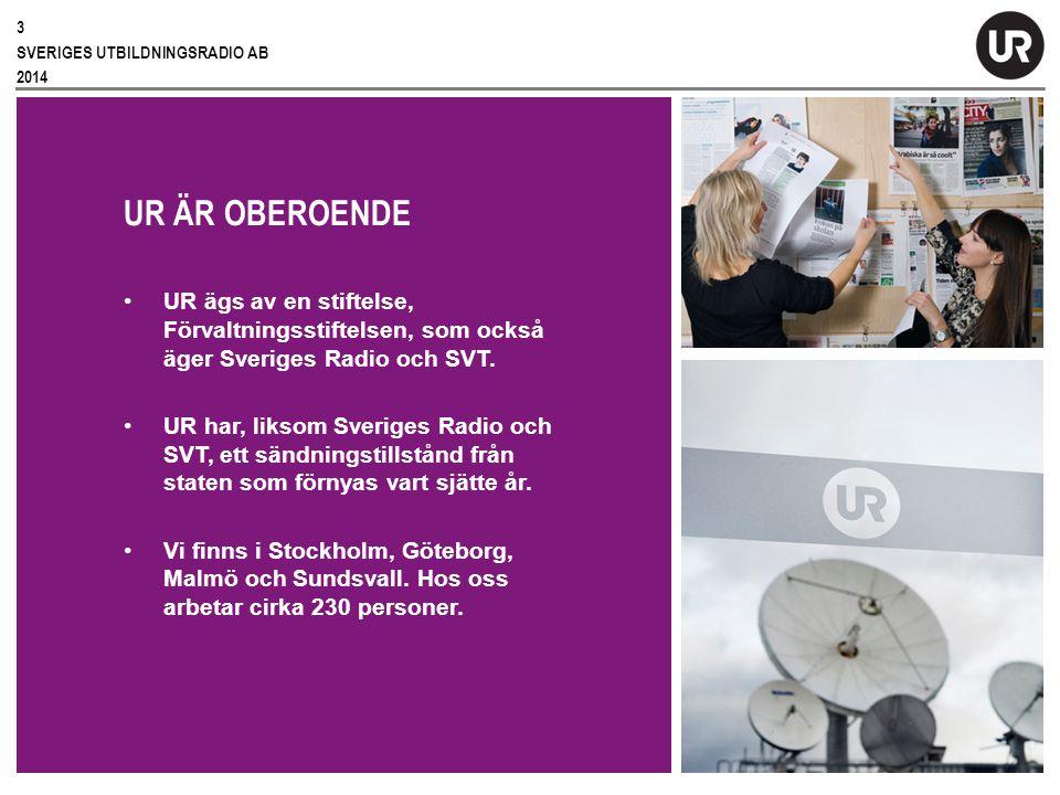 Sv UR ÄR OBEROENDE UR ägs av en stiftelse, Förvaltningsstiftelsen, som också äger Sveriges Radio och SVT.