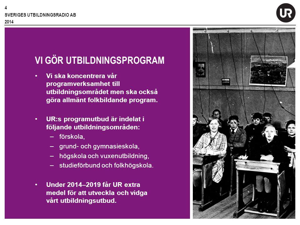 Sv VI GÖR UTBILDNINGSPROGRAM Vi ska koncentrera vår programverksamhet till utbildningsområdet men ska också göra allmänt folkbildande program.
