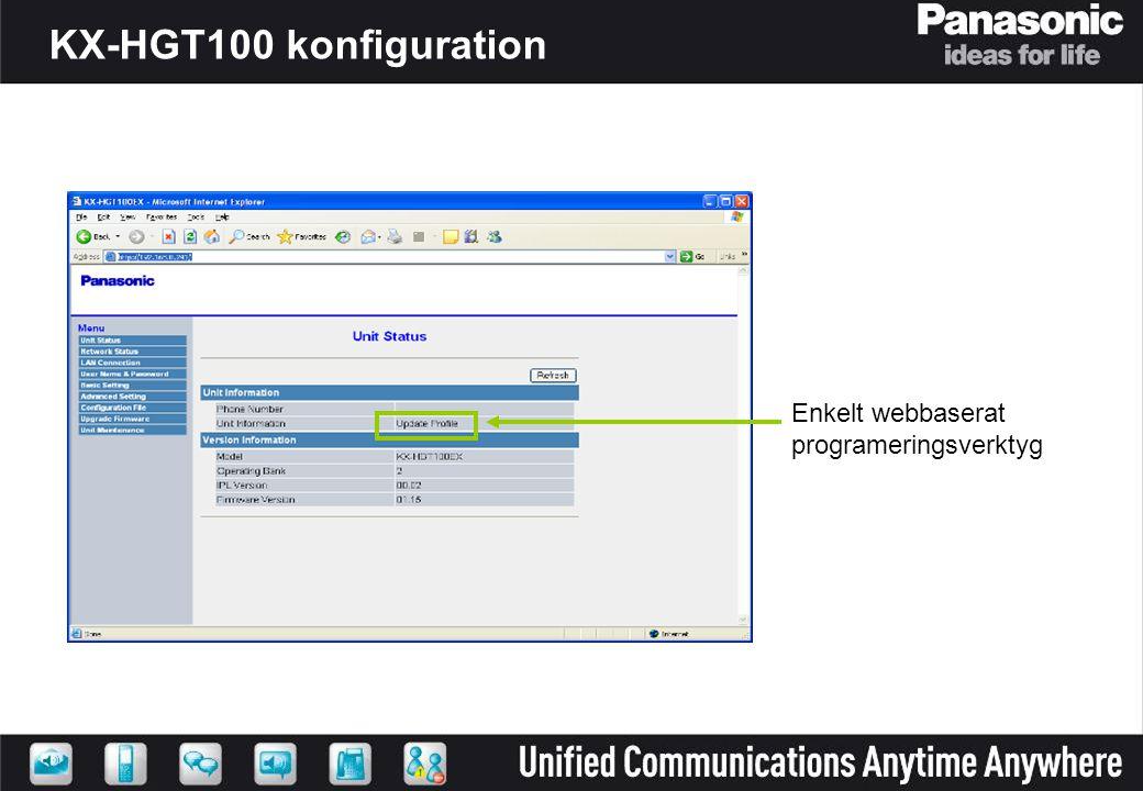 Enkelt webbaserat programeringsverktyg KX-HGT100 konfiguration
