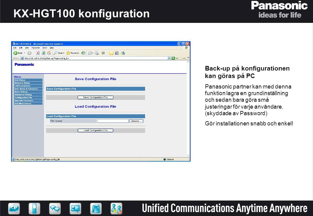Back-up på konfigurationen kan göras på PC Panasonic partner kan med denna funktion lagra en grundinställning och sedan bara göra små justeringar för varje användare.