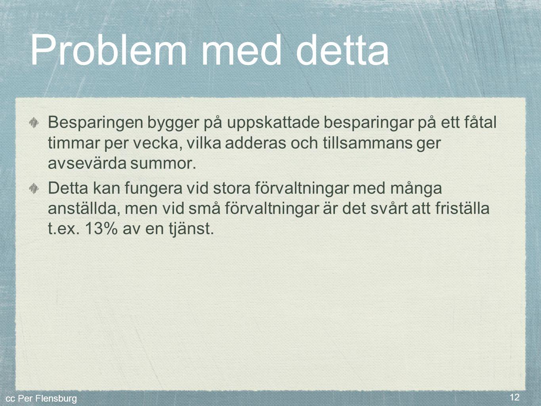 cc Per Flensburg 12 Problem med detta Besparingen bygger på uppskattade besparingar på ett fåtal timmar per vecka, vilka adderas och tillsammans ger a