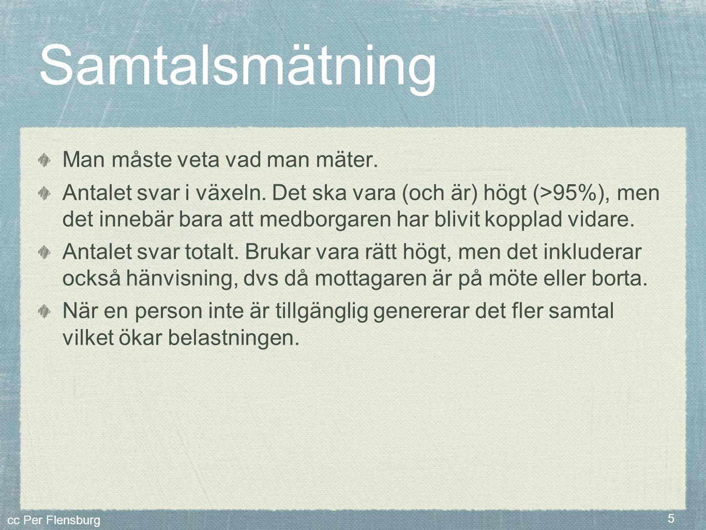 cc Per Flensburg 5 Samtalsmätning Man måste veta vad man mäter. Antalet svar i växeln. Det ska vara (och är) högt (>95%), men det innebär bara att med