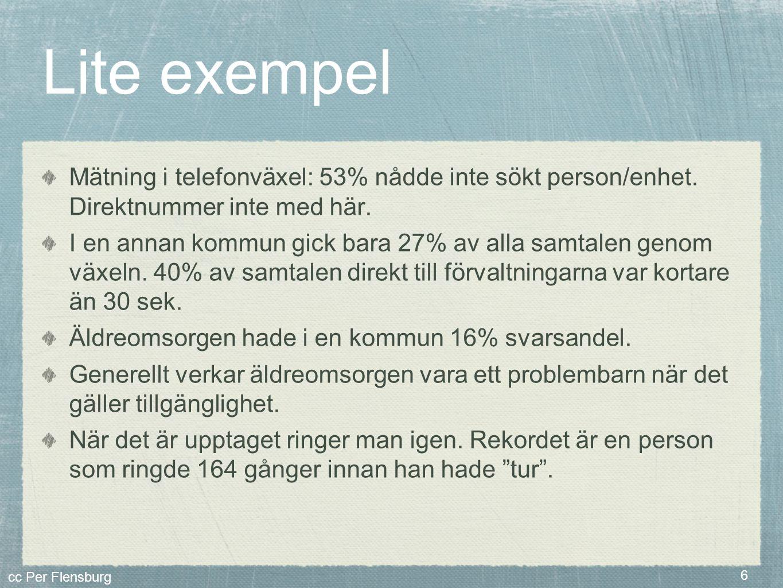 cc Per Flensburg 6 Lite exempel Mätning i telefonväxel: 53% nådde inte sökt person/enhet. Direktnummer inte med här. I en annan kommun gick bara 27% a