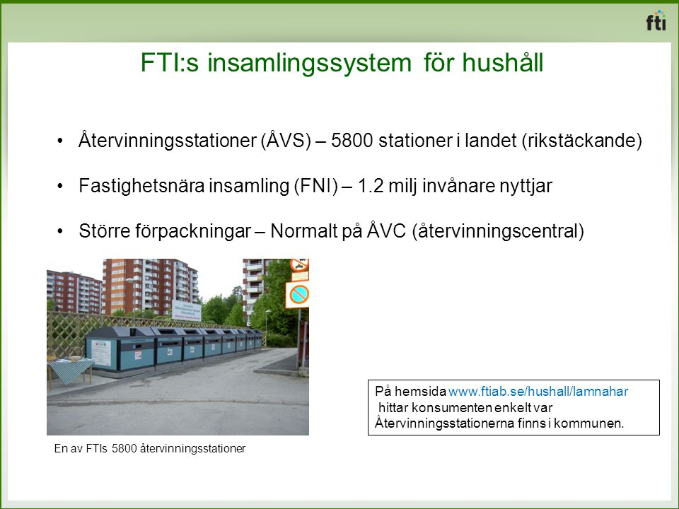 FTI:s insamlingssystem för hushåll Återvinningsstationer (ÅVS) – 5800 stationer i landet (rikstäckande) Fastighetsnära insamling (FNI) – 1.2 milj invånare nyttjar Större förpackningar – Normalt på ÅVC (återvinningscentral) På hemsida www.ftiab.se/hushall/lamnahar hittar konsumenten enkelt var Återvinningsstationerna finns i kommunen.