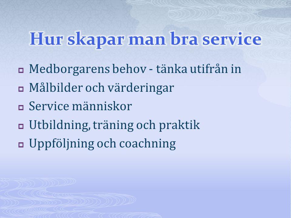  Medborgarens behov - tänka utifrån in  Målbilder och värderingar  Service människor  Utbildning, träning och praktik  Uppföljning och coachning