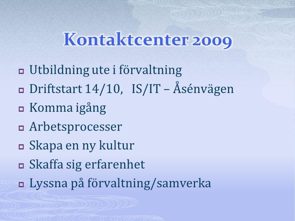  Utbildning ute i förvaltning  Driftstart 14/10, IS/IT – Åsénvägen  Komma igång  Arbetsprocesser  Skapa en ny kultur  Skaffa sig erfarenhet  Lyssna på förvaltning/samverka