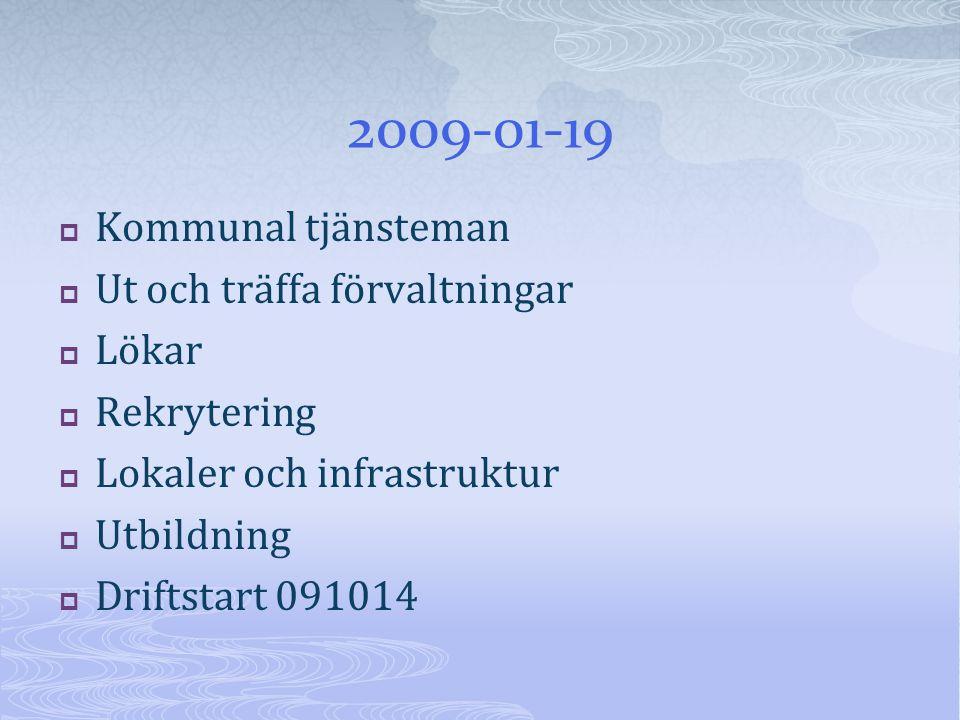 2009-01-19  Kommunal tjänsteman  Ut och träffa förvaltningar  Lökar  Rekrytering  Lokaler och infrastruktur  Utbildning  Driftstart 091014