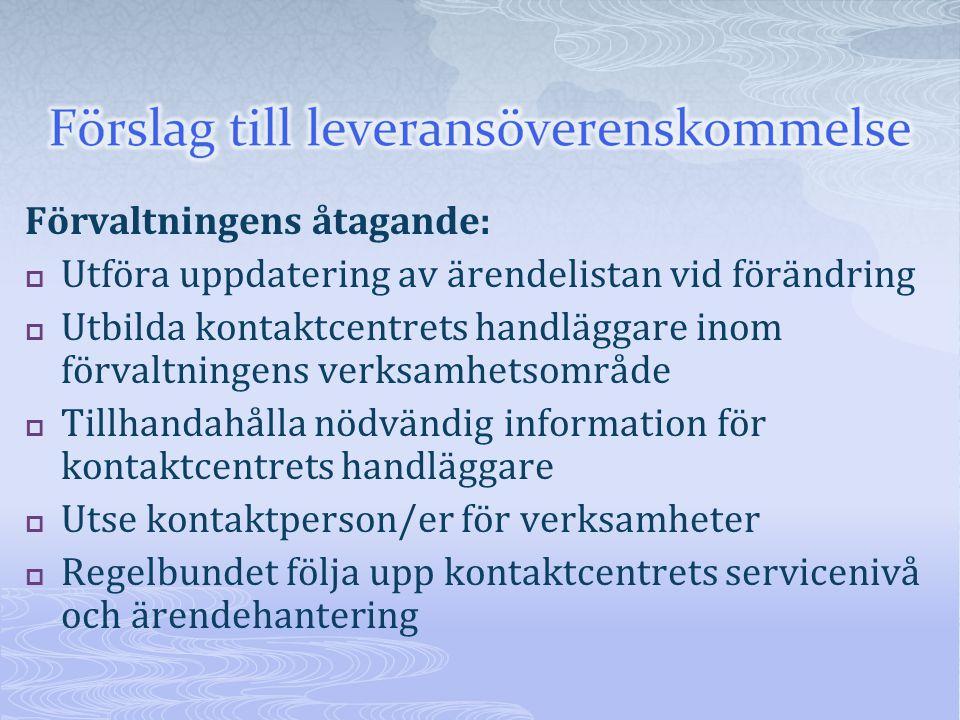 Förvaltningens åtagande:  Utföra uppdatering av ärendelistan vid förändring  Utbilda kontaktcentrets handläggare inom förvaltningens verksamhetsområ