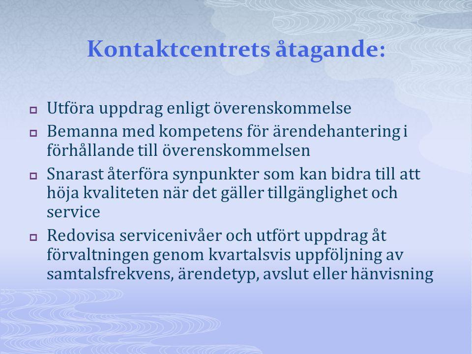 Kontaktcentrets åtagande:  Utföra uppdrag enligt överenskommelse  Bemanna med kompetens för ärendehantering i förhållande till överenskommelsen  Sn