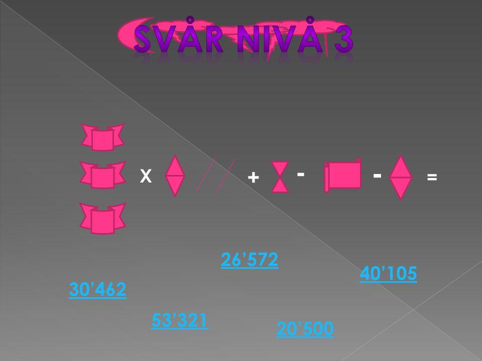X + - - = 20'500 26'572 30'462 53'321 40'105