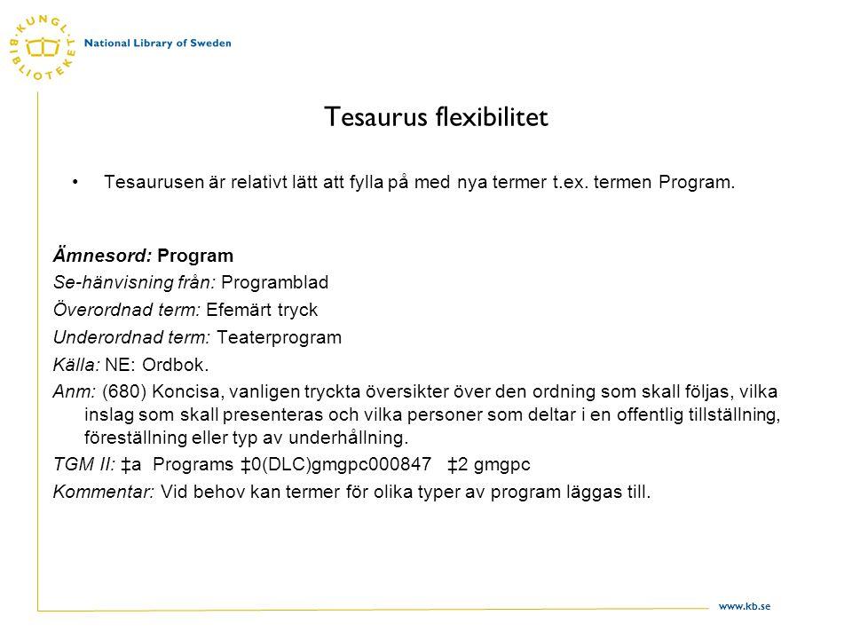 www.kb.se Tesaurus flexibilitet Tesaurusen är relativt lätt att fylla på med nya termer t.ex.