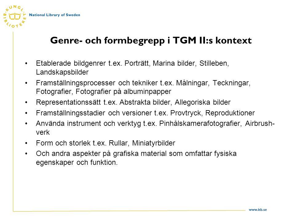 www.kb.se Genre- och formbegrepp i TGM II:s kontext Etablerade bildgenrer t.ex.