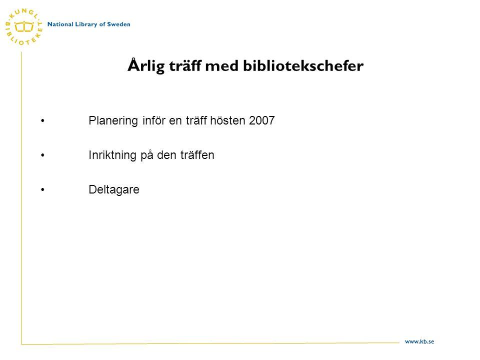 www.kb.se Årlig träff med bibliotekschefer Planering inför en träff hösten 2007 Inriktning på den träffen Deltagare