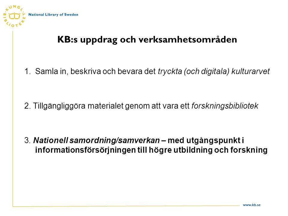 www.kb.se KB:s uppdrag och verksamhetsområden 1.Samla in, beskriva och bevara det tryckta (och digitala) kulturarvet 2.