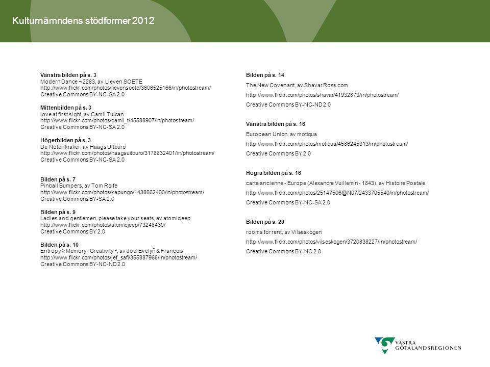 Kulturnämndens stödformer 2012 Vänstra bilden på s.