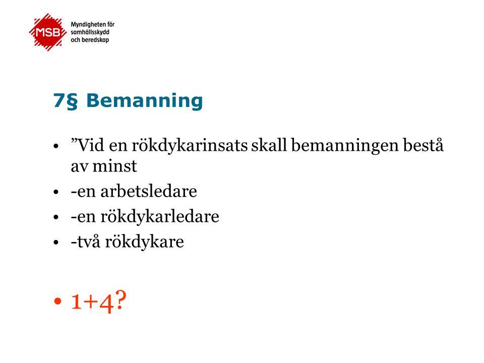 7§ Bemanning Vid en rökdykarinsats skall bemanningen bestå av minst -en arbetsledare -en rökdykarledare -två rökdykare 1+4